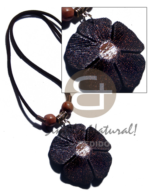 50mm flower black textured painted Necklace with Pendant