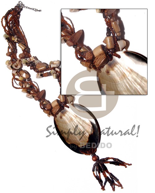 5 layers twisted glass beads Necklace with Pendant