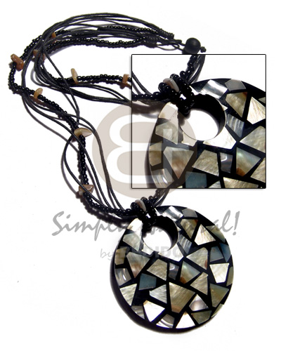 60mm round MOP chips inlaid on black resin  2 rows black beads  crystal nuggets accent and 3 rows black wax cord neckline - Necklace with Pendant