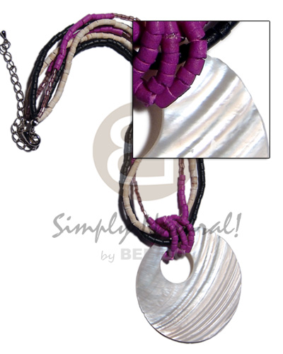 45mm round nat. kabibe shell pendant on violet/black/ bleach white combination 2-3mm coco heishe  cut glass beads combination - Necklace with Pendant