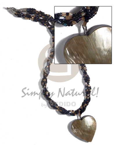 Interwined glass beads 45mmx45mm Necklace with Pendant