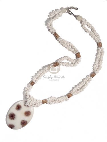 2 layers white mongo shells Necklace with Pendant
