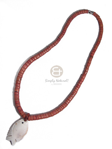 Graduated coco heishe cowrie Necklace with Pendant