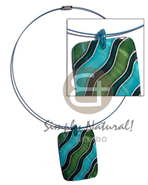 coated blue cable wire neckline  handpainted and colored rectangle 50mmx40mm kabibe shell pendant embellished  elevated /embossed metallic paint accent lines / blue, green and silver tones / 18in. - Necklace with Pendant