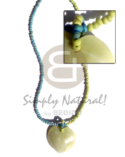2-3mm pastel green blue coco pokalet. Necklace with Pendant