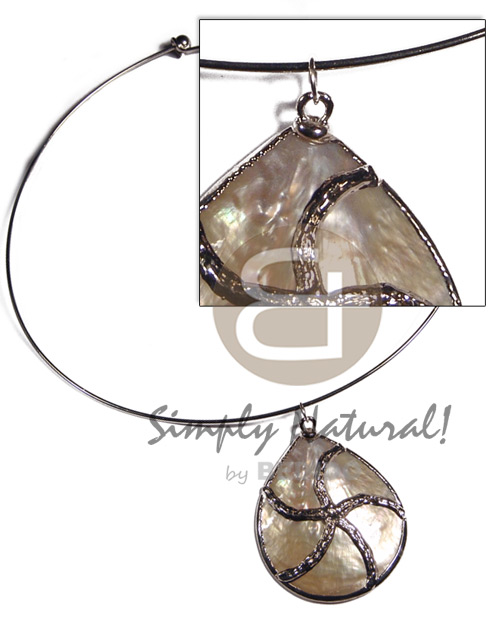 silver hoop  MOP 40mm /molten silver metal series /  attached jump rings / electroplated / jo-032 / 18in - Necklace with Pendant