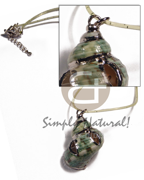 Green turbo shell in green Necklace with Pendant