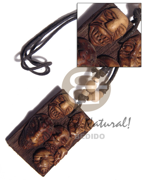 Clay tribal mask on 60mmx40mm Necklace with Pendant