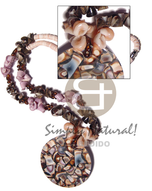 2-3mm pink luhuanus heishe   orange frog shells /brown everlasting vertagus shells / everlasting cebu beauty  combination and 50mm round black  resin  laminated shells  nicarta backing/ 20in - Necklace with Pendant