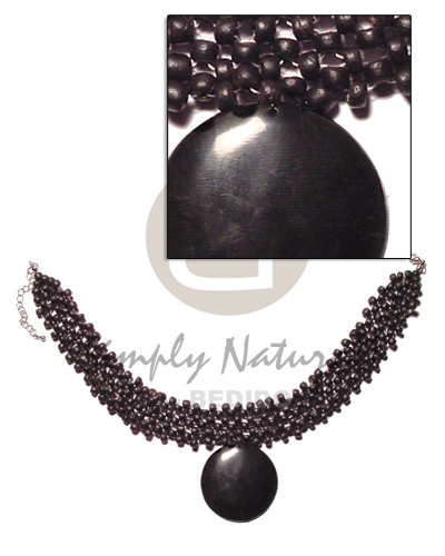 4-5mm 4 layer black coco Necklace with Pendant