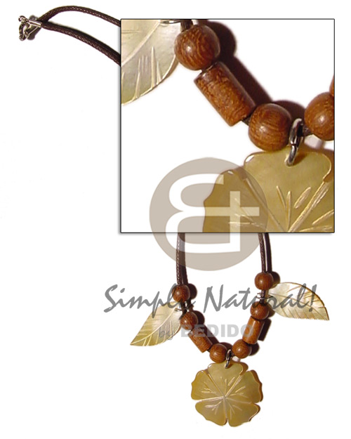 Wax cord wood beads Necklace with Pendant