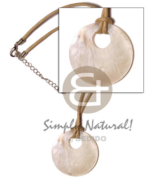 Round hammershell 45mm on wax Necklace with Pendant