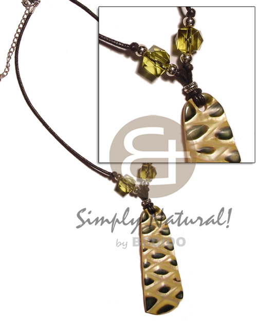 Mop checkered pendant skin Necklace with Pendant