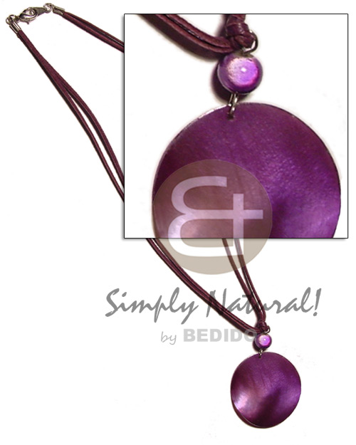 50mm hammershell violet in double Necklace with Pendant