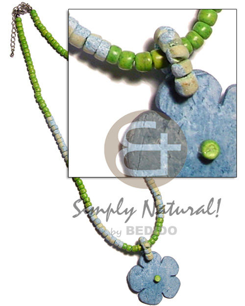 Aqua blue 4-5mm coco Necklace with Pendant