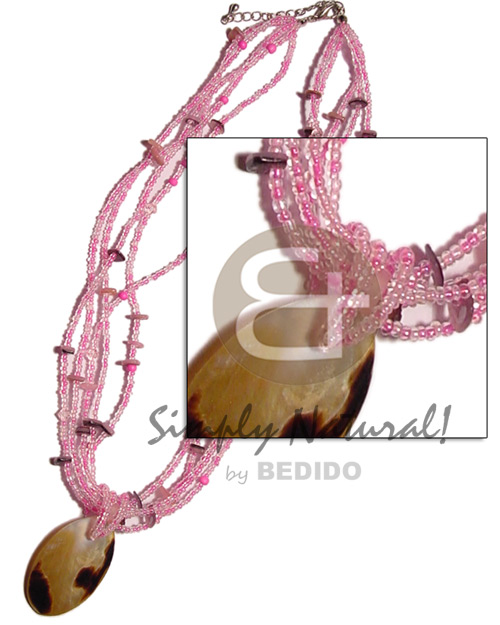 5 rows pink glass bead Necklace with Pendant