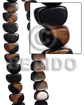 Camagong slice melon tiger 22x27x12mm Nuggets Wood Beads