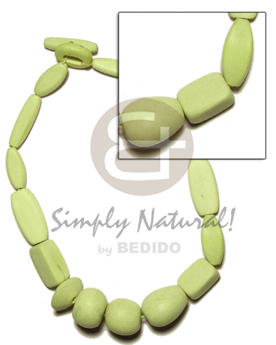 Natural wood beads dyed in Pastel Color Necklace