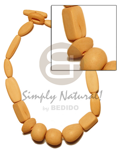 hand made Natural wood beads dyed in Pastel Color Necklace