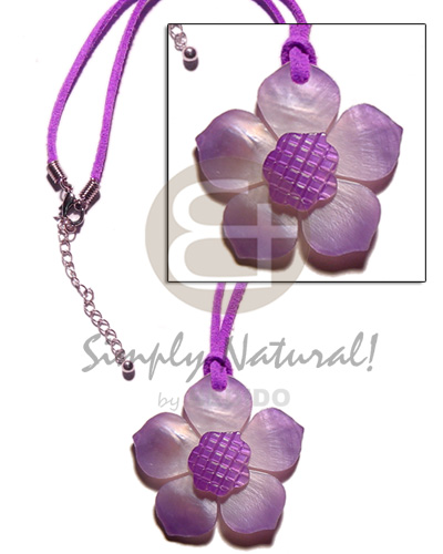 Graduated lilac tones hammershell flower Pastel Color Necklace
