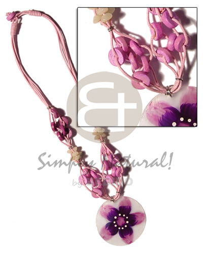 hand made 4 layer knotted pink cord Pastel Color Necklace