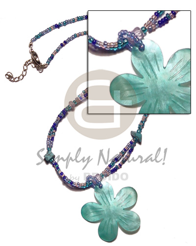 Aqua blue glass beads Pastel Color Necklace
