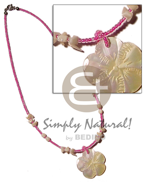 Pink glass beads shell Pastel Color Necklace