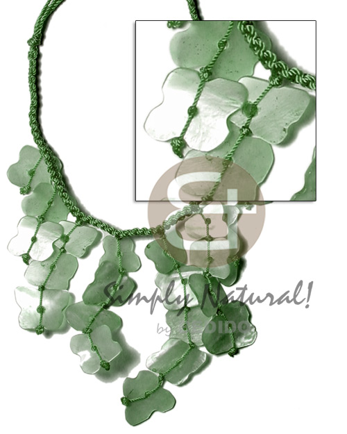 Subdued green macrame dyed Pastel Color Necklace
