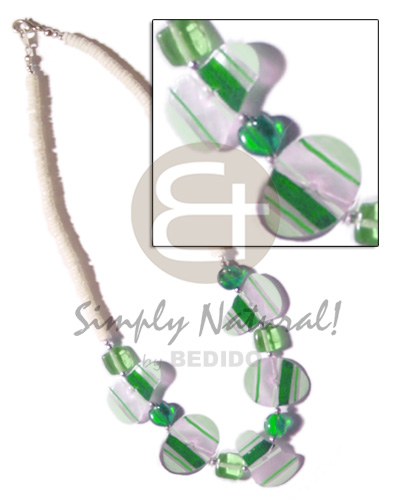 Painted green striped capiz Pastel Color Necklace