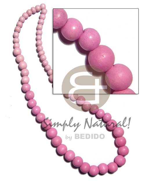 Graduated natural wood beads in Pastel Color Necklace