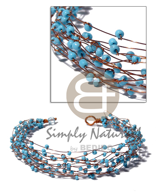 13 rows copper wire choker Pastel Color Necklace