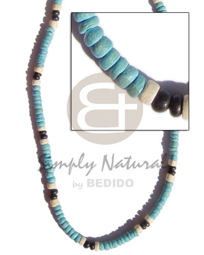 hand made 4-5mm coco pokalet. baby blue Pastel Color Necklace