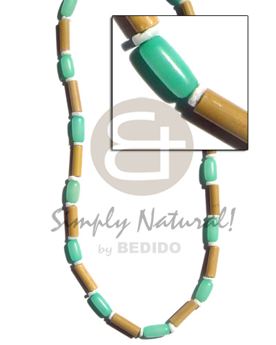 Bamboo tube pastel green Pastel Color Necklace