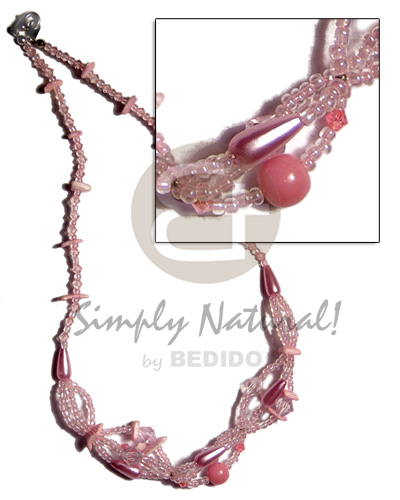 pink glass beads intertwined glass beads  white rose in pink combination - Pastel Color Necklace