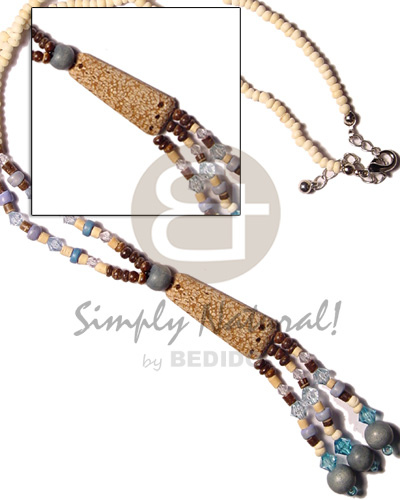 hand made 3 tassle 2-3 coco and Pastel Color Necklace