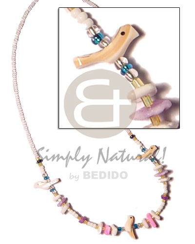White glass beads luhuanus Pastel Color Necklace