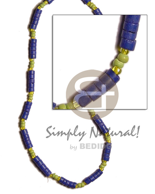 4-5mm navy blue coco heishe Pastel Color Necklace