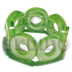 30mm capiz shell rings ( 7mm thickness )  10mm inner hole in clear neon green resin elastic bangle - Resin Bangles