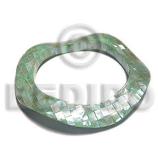 hand made Green kabibe shell blocking Resin Bangles