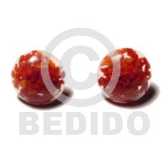 Red Corals. Button Earrings