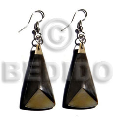 hand made Dangling 38mmx15mm laminated multi-sided blacklip mop Resin Earrings