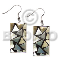 Dangling flat 30mmx15mm rectangular black Resin Earrings