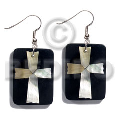 Dangling 40mmx27mm rectangular black resin Resin Earrings