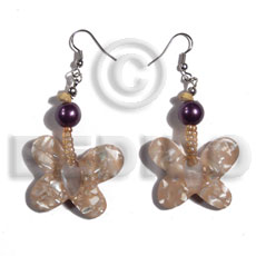 Dangling 25mm butterfly in crushed Resin Earrings