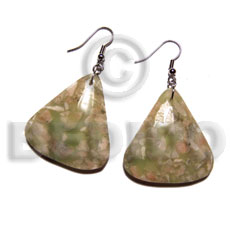 Dangling triangular shape corals 40mmx35mm Resin Earrings