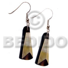 Dangling 40mmx15mm 3 sided blacklip Resin Earrings