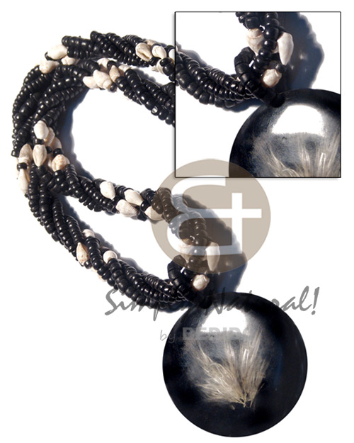 4 layers 4-5mm coco black Resin Necklace Stone Necklace