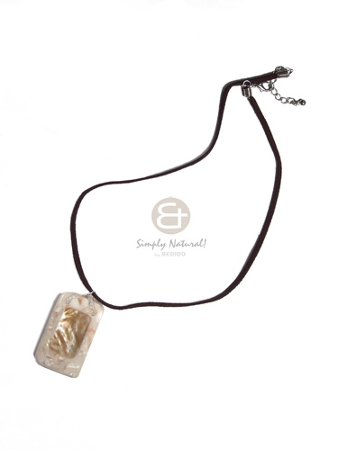 45mmx27mm rectangular laminated brownlip in cr�me resin  shell chips  on brown leather thong /16in - Resin Necklace Stone Necklace