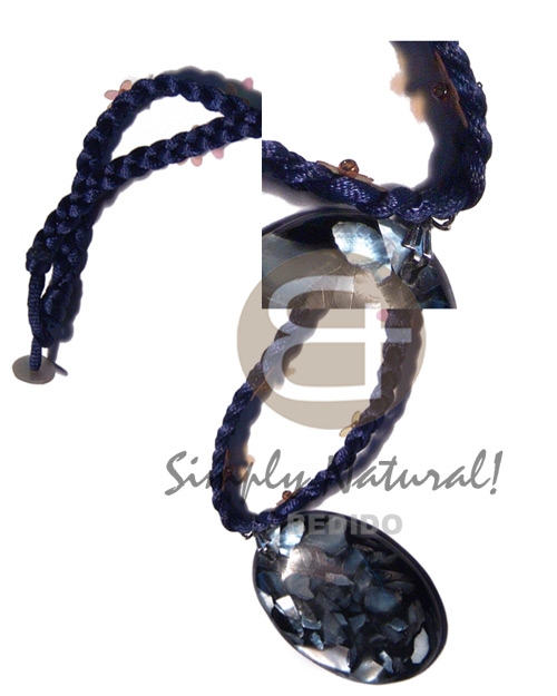 braided navy blue satin cord choker  floral sequins accent and 45mmx34mm oval black resin  laminated hammershell chips pendant / knotted lock  shell stopper / 16in - Resin Necklace Stone Necklace
