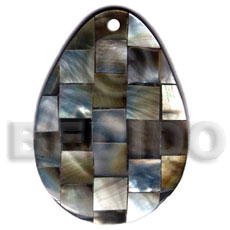 55mmx40mm teardrop blacklip shell blocking Resin Pendants